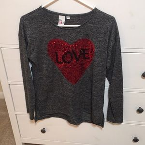 Sweater- beautiful gray with heart!